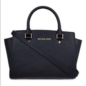Michael Kors Selma Black Medium Satchel Bag